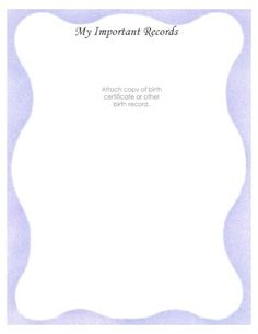 """Free Printable Baby Book Page, """"My Important Records"""""""