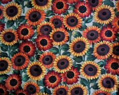 "Over 1 Yd Sunflowers on StalksFall Harvest Cotton Fabric 63"" X 44"""