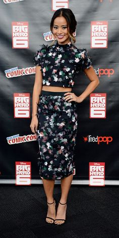 Jamie Chung in a Tanya Taylor two piece floral set. // #Fashion #Style
