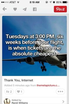 When To Purchase The Cheapest Flight Tickets #Travel #Trusper #Tip