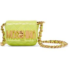 Moschino - Quilted Mini Leather Shoulder Bag ($338) ❤ liked on Polyvore featuring bags, handbags, shoulder bags, green, leather purses, quilted shoulder bag, green leather purse, green leather shoulder bag and green leather handbag