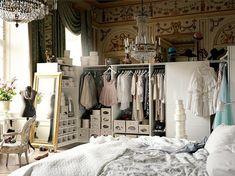 serious closet space, <3 chandeliers, wallpaper