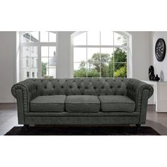 Madison Home USA Chesterfield Classic Scroll Arm Tufted Sofa   AllModern