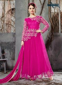 Make the heads flip as soon as you costume up with this magenta georgette and net anarkali salwar kameez. You will see some intriguing patternsperformed with embroidered and patch border work....