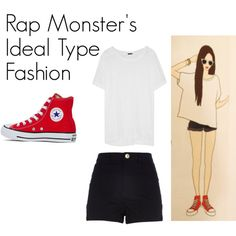 Rap Monster's Ideal Type Outfit by kaisper on Polyvore featuring J.Crew, River Island, Converse, women's clothing, women's fashion, women, female, woman, misses and juniors