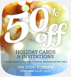 off all Holiday Cards & Invites