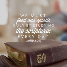 """""""We must feed our spirits daily by studying the scriptures every day. ... Live each day so that you might receive from the fountain of light [the] nourishment and strength sufficient to every day's need. Take time to be holy each day of your lives."""" –Harold B. Lee http://pinterest.com/pin/24066179230926377 #ShareGoodness"""
