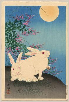 Shosonによる「満月の下に2つの白ウサギ」