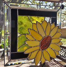 "STAINED GLASS ART WINDOW PANEL SUN CATCHER SUNFLOWER TIFFANY STYLE 12""x12"""