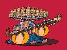 Ravana & Rudra Veena Art Print by karthikcit Shiva Yoga, Happy Birthday Wishes Quotes, Lord Shiva Painting, Hindu Art, Traditional Paintings, Cool Art Drawings, Gods And Goddesses, Indian Art, Character Design