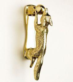 Polished Brass Running Fox Door Knocker