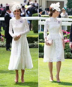 Duchess of Cambridge steps out at the royal ascot in white lace.