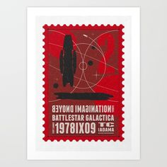 Beyond imagination: Battlestar Galactica postage stamp Art Print by Chungkong…