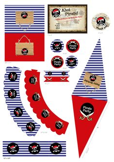 """Arranging a Pirate Birthday Party? Here's a Pirate printable set and it's perfect!! This set includes: * Fill in Invitations 7""""*5"""" (Map Invitation) *Thank You Tags 3""""*3"""" *Circle Tags ( 4 designs) 2""""*2"""" *Bunting Flag 3.4""""* 5.7"""" *Flags 5""""*1"""" (2 designs) *Food Tent Cards 3.9""""*2.7"""" *Cupcake Wrappers(2 designs) 8.8""""*1.75"""" * Bottle Labels 8.4""""* 2.25""""  * Pirate's Hat 10.9""""*5"""" * Eye Patches 2.48""""*2.35 * Sword 10.4""""*2.48"""" #piratebirthday #pirateprintableset"""