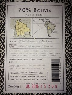 Handcrafted 70% Bolivia Alto Beni chocolate from Dick Taylor Chocolate