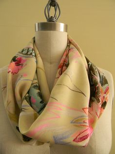 FREE DOMESTIC SHIPPING Floral Infiniti Scarf in Spring by Olimpias, $38.00