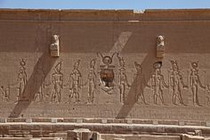 Reliefs on rear of Temple of Hathor, Dendera