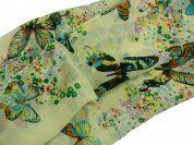 Cream Butterfly Chiffon Scarf