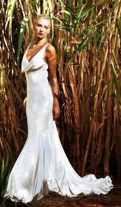 Silk Satin Wedding Dress with a Cowl Neckline (The dress is alright...I mostly like the shot).