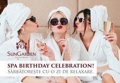 Tu cum îți petreci ziua de naștere? Noi îți propunem să îți iei gașca și să vă relaxați întreaga zi la SPA. Pachetul se adresează unui număr de minim 4 persoane și maxim 20 de persoane. Oferta este valabilă de luni până duminică în limita disponibilității.  Informații suplimentare și rezervări +40 735 888 001/spa@sungardenresort.ro Sunglasses Women, Relax, Explore, Fashion, Fashion Styles, Fasion, Exploring, Fashion Illustrations, Moda