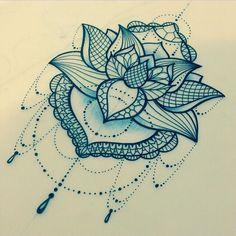 Lace lotus tattoo design