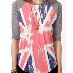 FOREVER 21 Union Jack Baseball Top ($18) ❤ liked on Polyvore