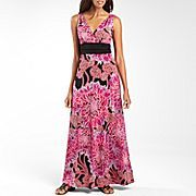 London Style Ruched Waist Print Maxi Dress -$40.00
