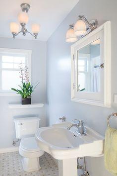 Cottage Full Bathroom with Flush, Pedestal sink, High ceiling, limestone tile floors, Savoy House 2 Light Vanity Light