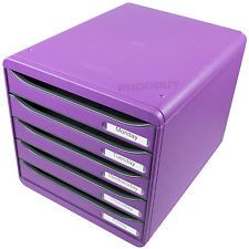 Purple Desk Trays | ... Box Plus 5 Drawer Storage Tower A4 Paper Desk Organiser Letter Tray