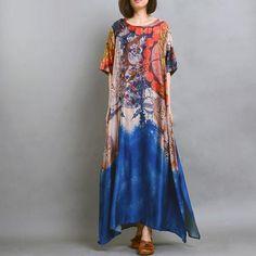Peacock's Dream Silk Maxi Dress