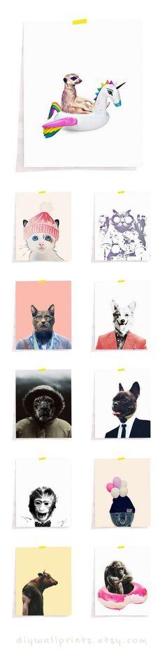 Funny Animal Prints, Humor Print, Humor Decor, Fun Animal Prints, Cat Print For Nursery, Printable Art