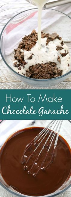 Learn how to make chocolate ganache with this easy tutorial. You only need choco… Learn how to make chocolate ganache with this easy tutorial. You only need chocolate, heavy whipping cream, a microwave, and 5 minutes to make this simple ganache recipe! Frosting Recipes, Cake Recipes, Dessert Recipes, Fun Desserts, Delicious Desserts, Baking Desserts, Fudge, Chocolate Ganache Frosting, Chocolate Ganache Recipe Microwave