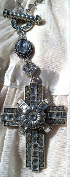 Charming Long Cross Statement Necklace, Rosary Necklace  etsy.com/shop/secretstashboutique