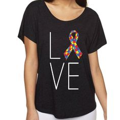 #Love Ribbon #Autism Dolman Graphic Tee found at shopforbags.com #onsale for only $5.00 #HeadToToe #YellowRibbon #KatydidForLife #Autism #GoPink #PinkRibbon #Awareness #BreastCancer