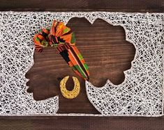 Afro string art with headband! String Art Diy, String Crafts, Diy Wall Art, Paper Crafts, Wall Decor, Resin Crafts, Paint Chip Art, Diy And Crafts, Arts And Crafts