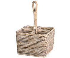 Woven rattan storage basket cutlery caddy of fine woven wicker $49.50