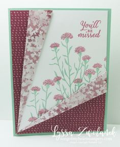 Diagonal Pleat Fold Card Stampin Up Song of My Heart Stampers                                                                                                                                                                                 More