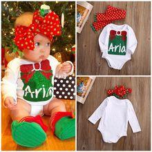 Merry Xmas Newborn Baby Girls Cotton Sweet Tie Print Long Sleeve Bodysuit Jumpsuit Dot Headband Outfits Set Christmas Gift(China (Mainland))