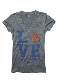 Kansas Jayhawks T-Shirt- Womens Grey Love Kansas Basketball V-Neck T-Shirt http://www.rallyhouse.com/shop/kansas-jayhawks-new-agenda-kansas-jayhawks-tshirt-womens-grey-love-kansas-basketball-vneck-tshirt-2278790 $19.99