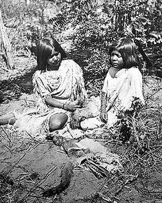 Two Paiute children, Mon-su and Su-vu-it, photographed in the vicinity of Saint George by John K. Hillers in the early 1870s. Note the coyote-hid quiver ...