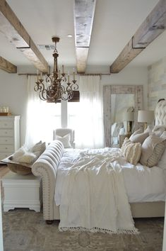 Installing DIY Faux Wood Beams in our Master Bedroom was one of the best decor Farmhouse Bedroom Decor, Home Decor Bedroom, White Rustic Bedroom, Bedroom Ideas, Faux Wood Beams, Faux Wood Wall, Faux Ceiling Beams, Suites, My New Room