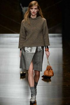 Greys, tweeds and metallics artfully and loosely mixed up at Trussardi. Trussardi Fall 2014 Ready-to-Wear Collection Slideshow on Style.com
