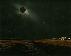 solar eclipse as seen from the moon by Lucien Rudaux