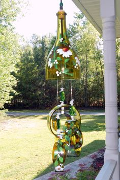 """Wind Chime, """"My Favorite Daisy"""" , made from recycled wine bottle -  fashioned  into a Wine-Chime!"""