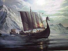 Vikingskip med seil