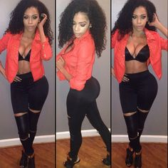 Sexy. Outfit Club Outfits, Fall Outfits, Fashion Outfits, Clubbing Outfits, Sexy Ebony, Fashion Killa, Moto Jacket, Swagg, Black Girls