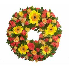 This sympathy bouquet includes dozen of yellow and orange roses, mixed with gerbera daisies and flowers of the season. Approximate wreath size is 14-inch (medium sized) or 18-inch (large size) outside diameter. A TABLE TOP STAND is included. Ribbon or card message is also included