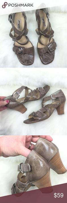 PAUL GREEN 🎀 MUNCHEN STRAPPY BUCKLE HEELS, 10 Very cute!  Stacked thick heel for added support!  Preowned & not too tall, not too short!  Dark taupe and tan in color, as pictured.  STRAPPY design!  💗💗💗 AX20617G Paul Green Shoes Heels
