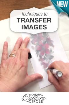 Permanently transfer your images onto your quilting fabric! http://www.nationalquilterscircle.com/video/image-transfer-techniques/?utm_source=pinterest&utm_medium=organic&utm_campaign=A219 #LetsQuilt
