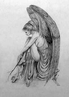 Contemplation By Diana Winter Angel Sketch, Angel Drawing, Body Drawing Tutorial, Angel Coloring Pages, Dark Art Photography, Norse Tattoo, Angel Tattoo Designs, Ange Demon, Colors For Skin Tone